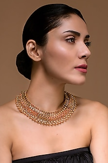 Gold Finish Necklace With Swarovski Crystals by Tarun Tahiliani X Confluence