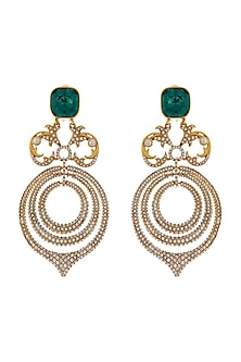 Gold Finish Statement Chandelier Earrings With Swarovski Crystals by Tarun Tahiliani X Confluence