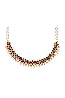 Gold Finish Choker Necklace With Swarovski & Pearls by Tarun Tahiliani X Confluence