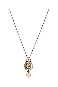 Black Rhodium Finish Pendant With Swarovski Crystals by Tarun Tahiliani X Confluence