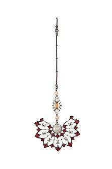 Black Rhodium Finish Maang Tikka With Swarovski & Pearls by Tarun Tahiliani X Confluence