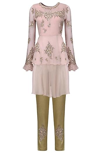Blush Pink Layered Tunic with Brocade Trousers by Tara Thakur
