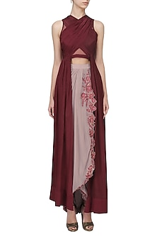 Cherry Red Pleated Tunic with Drape Skirt Set by Tara Thakur
