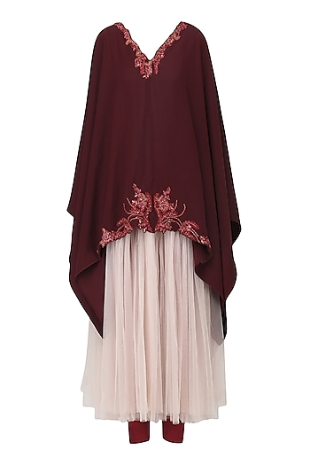 Burgundy Embroidered Kaftan with Legging Set by Tara Thakur
