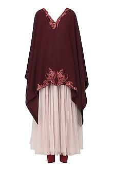 Burgundy Embroidered Kaftan with Legging Set by Tara Thakur