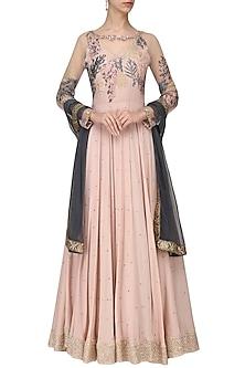 Blush Pink Embroidered Anarkali Set by Tara Thakur