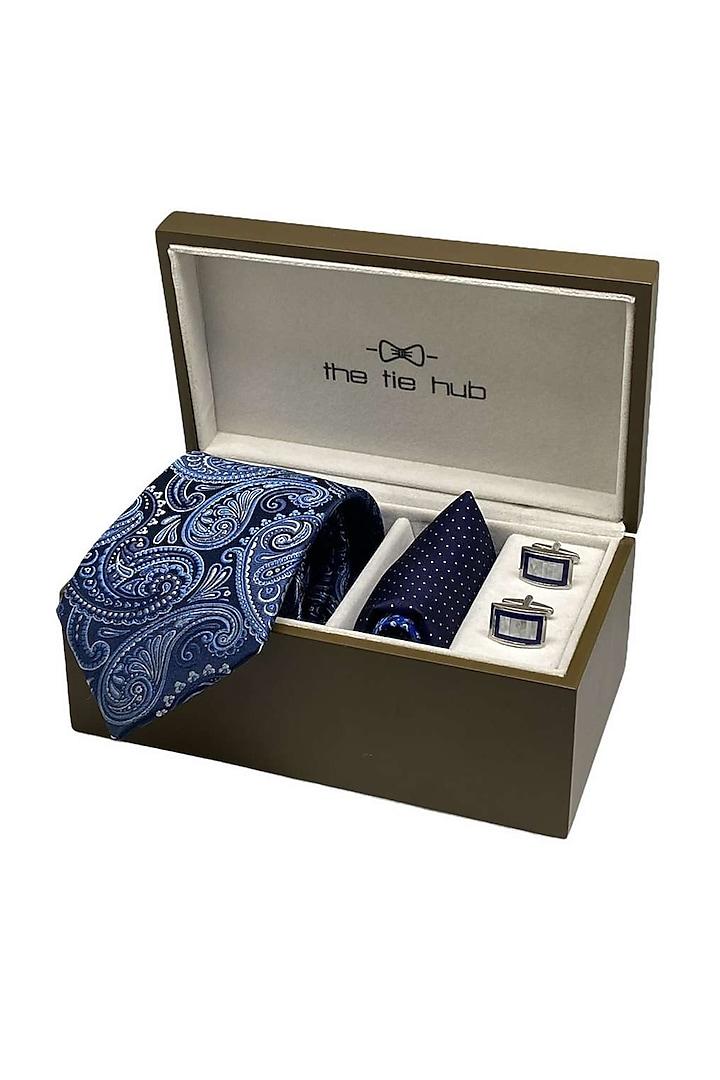 Blue Woven Silk Necktie Set (Set Of 3) by THE TIE HUB
