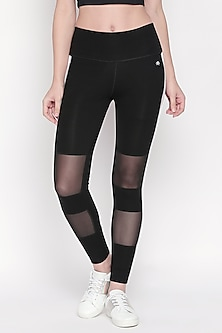 Black Cotton Lycra Stretchable Leggings by Tuna London