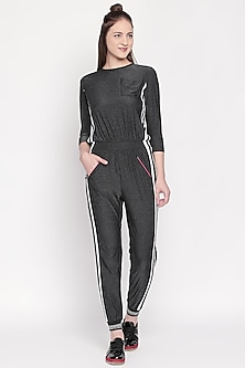 Dark Grey Jumpsuit With Side Stripes by Tuna London