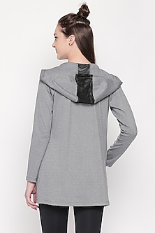 Grey Polyester Hoodie Shrug by Tuna London