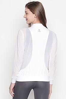 White Cotton Lycra Zipper Jacket by Tuna London