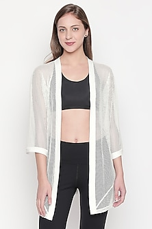 White Shrug With 3/4th Sleeves by Tuna London