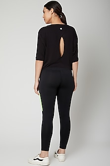 Black T-Shirt With Tie-Ups by Tuna London