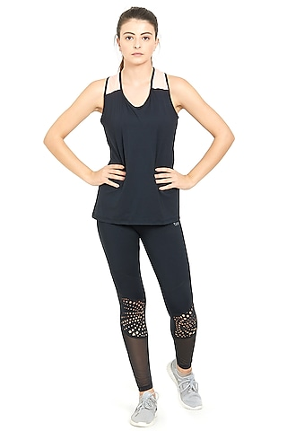 Black Poly Blended Sports Tights by Tuna London