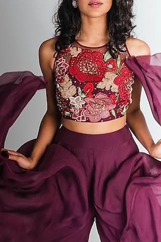 Plum Embroidered Crop Top With Pants by Tavaare