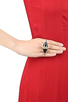 Silver Finish Black Onyx Stone and Pearls Double Triangle Cone Ring by Tanvi Garg