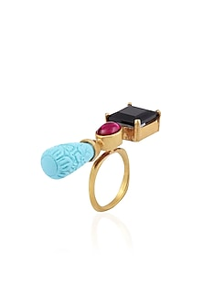 Gold Finish Turquoise, Black and Red Onyx Stone Double Finger Ring by Tanvi Garg