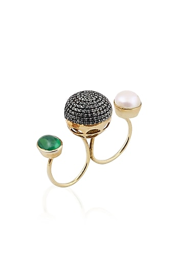 Gold Finish Black Zircon and Pearl Double Finger Ring by Tanvi Garg