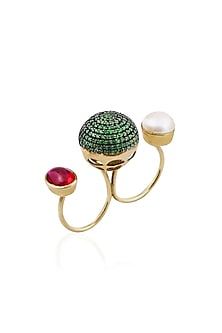 Gold Finish Green Zircon and Pearl Double Finger Ring by Tanvi Garg