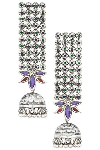 Antique Silver Finish Glass Stone Jhumki Drop Earrings by Tanvi Garg