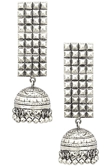 Antique Silver Finish Jhumki Drop Jaal Earrings by Tanvi Garg