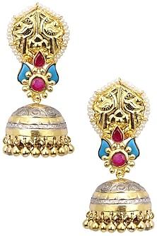 Dual Finish Glass Stone Jhumki Drop Earrings by Tanvi Garg