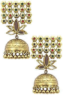 Antique Gold Finish Glass Stone Jaal Earrings by Tanvi Garg