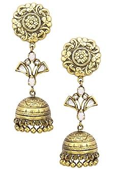 Antique Gold Finish Jhumki Drop Flower Top Earrings by Tanvi Garg