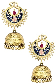 Antique Gold Finish Blue Crescent Earrings by Tanvi Garg