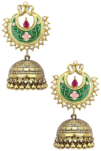 Antique Gold Finish Green Crescent Earrings by Tanvi Garg