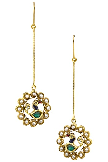 Gold Finish Peacock Motif Long Earrings by Tanvi Garg