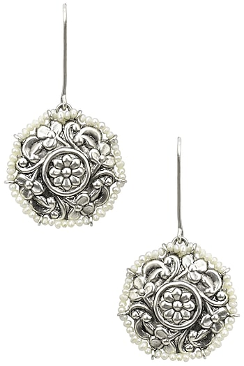 Silver Finish Floral Textured Round Earrings by Tanvi Garg