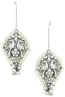 Silver Finish Floral Textured Pearl Earrings by Tanvi Garg