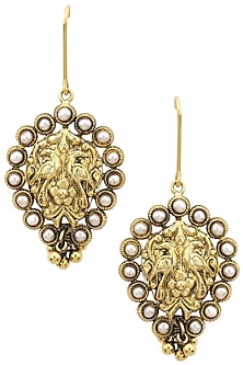 Gold Finish Floral Textured Pearl Earrings by Tanvi Garg