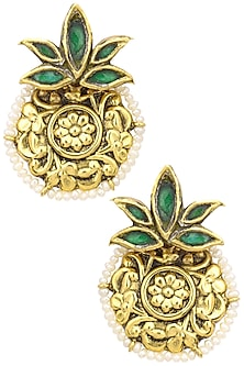 Gold Finish Glass Stone Textured Round Earrings by Tanvi Garg