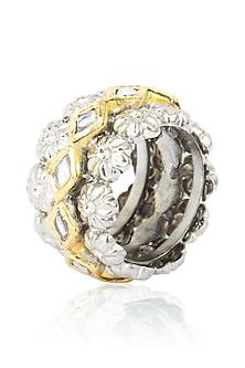 Gold Finish Kundan Stone Flower Motif Ring by Tanvi Garg
