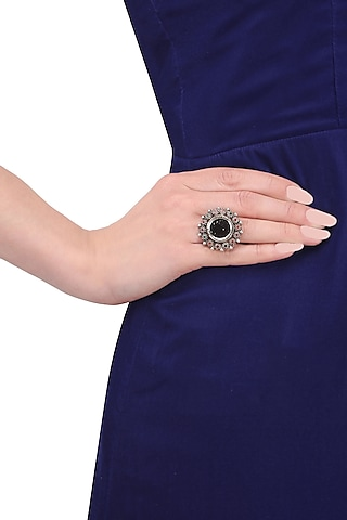 Silver Finish Mirror Round Ring by Tanvi Garg