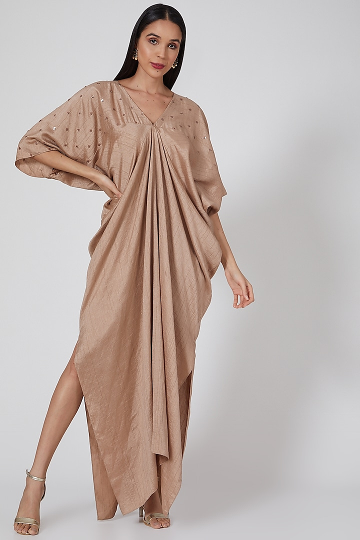 Rose Gold Embroidered Draped Kaftan by Twinkle Hanspal