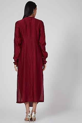 Maroon Cowl Draped Kurta Dress by Twinkle Hanspal