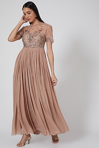 Rose Gold Flared Anarkali Gown by Twinkle Hanspal