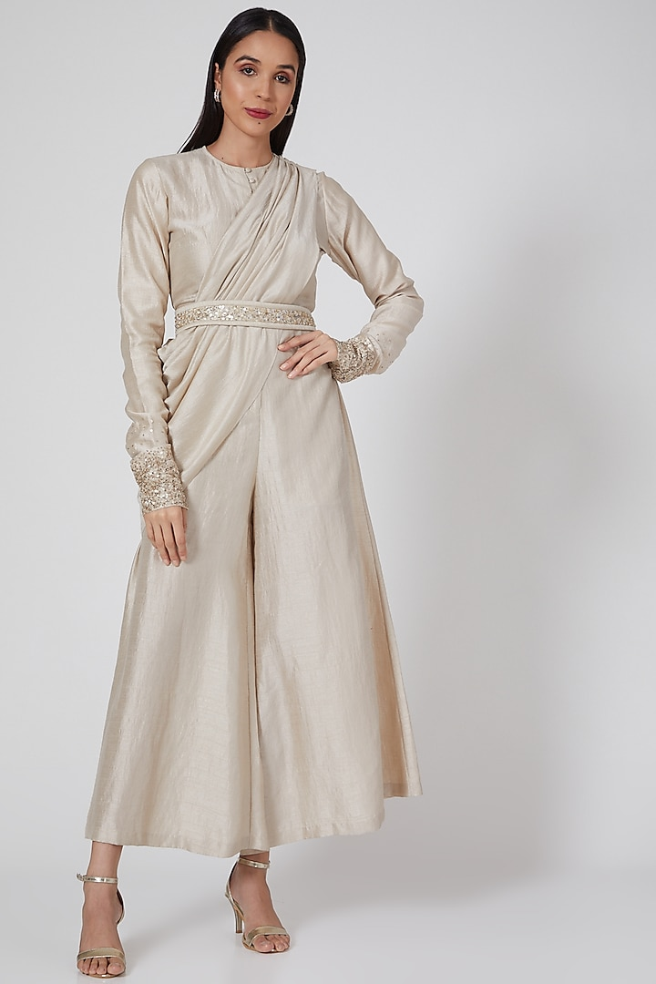 Ivory Embroidered Draped Jumpsuit by Twinkle Hanspal