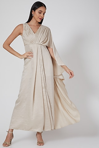 Ivory Pleated Saree Gown by Twinkle Hanspal