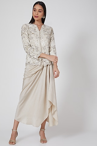 Ivory Embroidered Jacket Set by Twinkle Hanspal