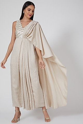 Ivory Embroidered Draped Gown by Twinkle Hanspal