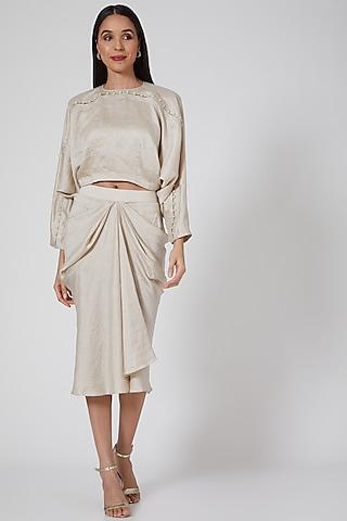 Ivory Draped Skirt Set by Twinkle Hanspal