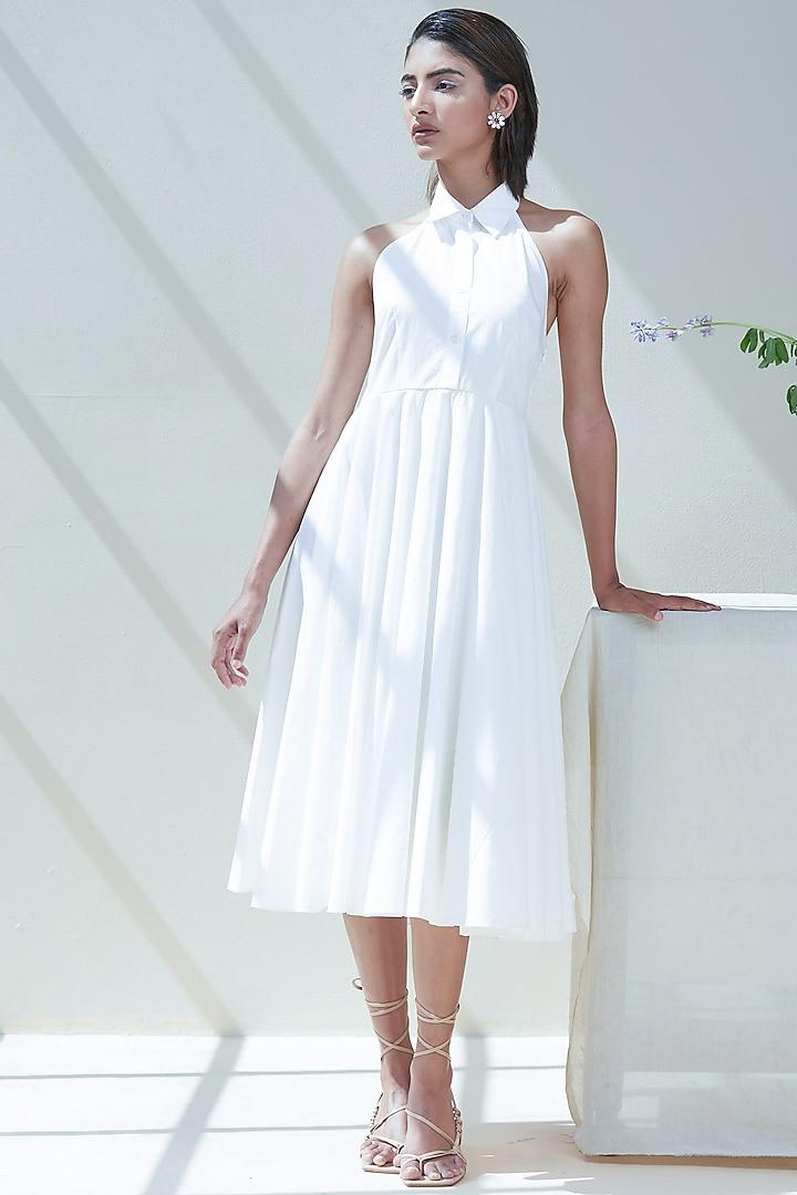 White Cotton Poplin Midi Dress by Twinkle Hanspal