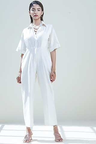 Ivory Paneled Jumpsuit by Twinkle Hanspal