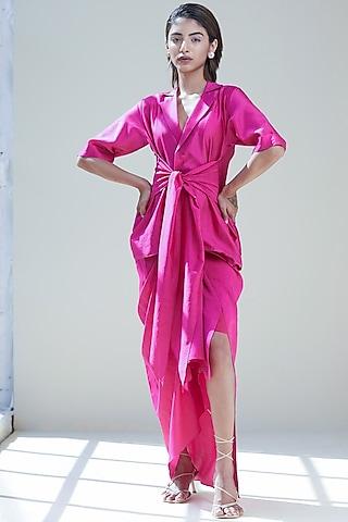 Wine Draped Skirt With Blazer by Twinkle Hanspal
