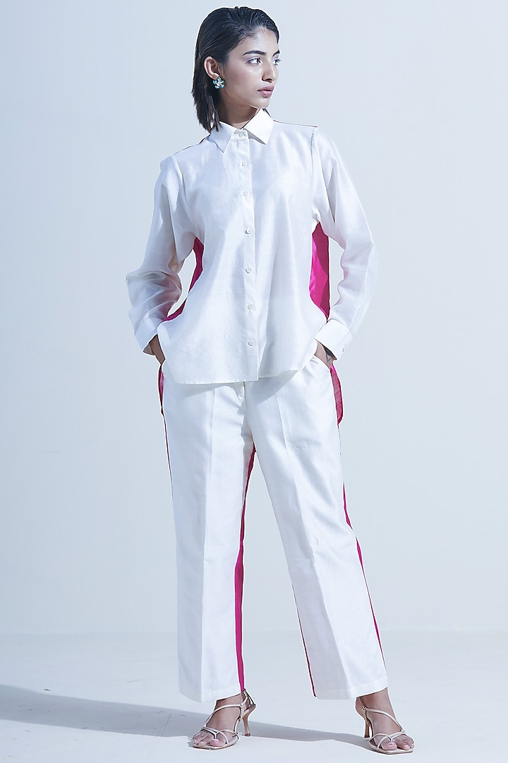 Wine & Ivory Pant Set With Color Blocking by Twinkle Hanspal