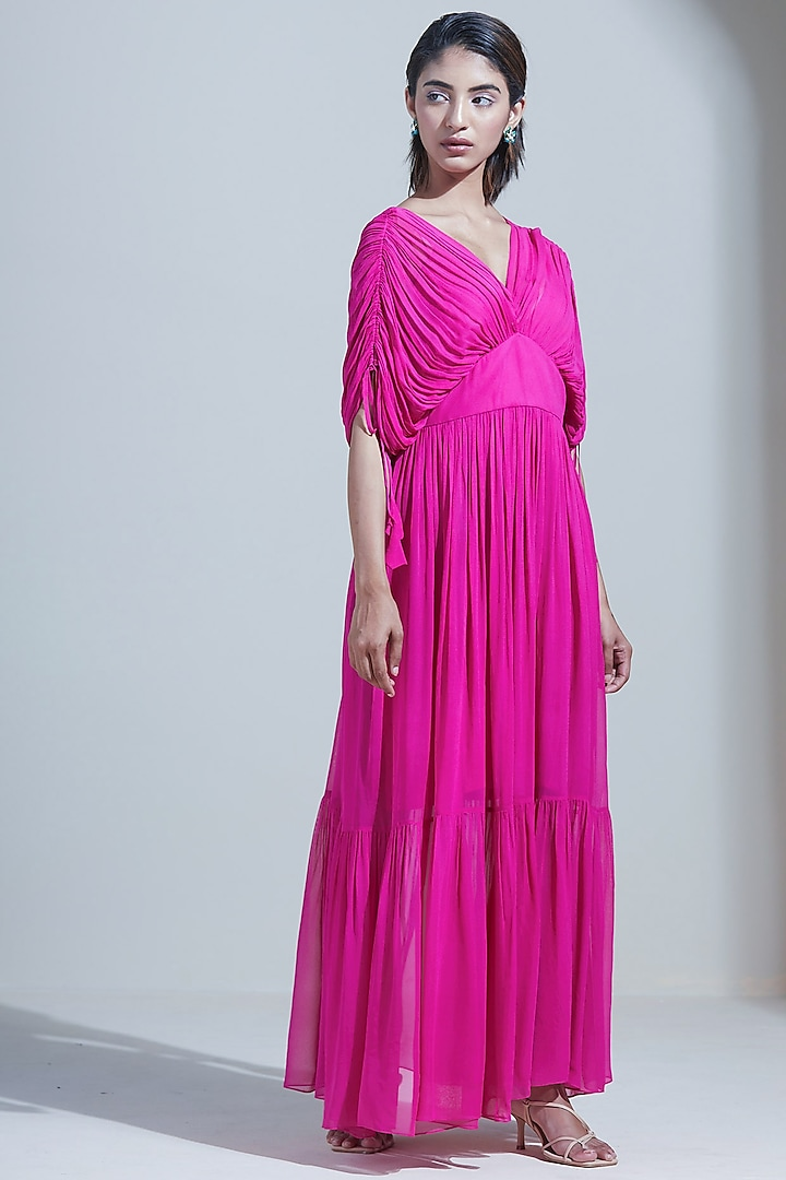 Fuchsia Ruched Maxi Dress by Twinkle Hanspal